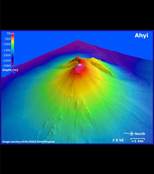Bathymetric map of Ahyi Seamount courtesty of NOAA.