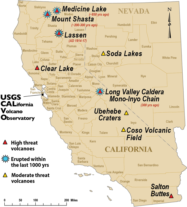 California Volcano Map