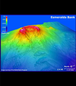 Bathymetric map of Esmeralda Bank Seamount courtesy of NOAA.