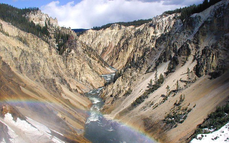 Altered rhyolite lava flows at the Grand Canyon of the Yellowstone, Yellowstone National Park