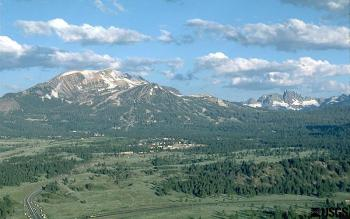East-facing slope of Mammoth Mountain, California.<br />  (Click image to view full size.)