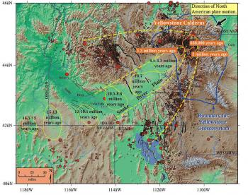 Graphic depicting the path left by the Yellowstone hotspot as the continental plate drifted above it.