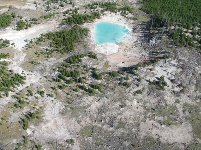 "A 100-m-diameter lake fills a hydrothermal explosion crater (Holocene age) north of ""The Gap""."