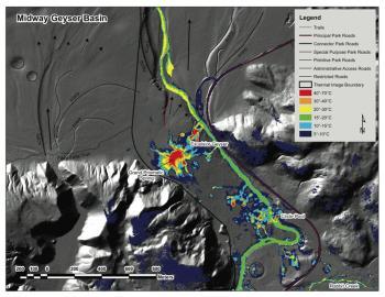 LIDAR und FLIR kombinierte Bild Hilfe für Wissenschaftler zu geologischen Vergangenheit und geothermische Aktivität Yellowstone zu informieren.  (Klicken Sie auf Bild, um es in voller Größe zu sehen.)