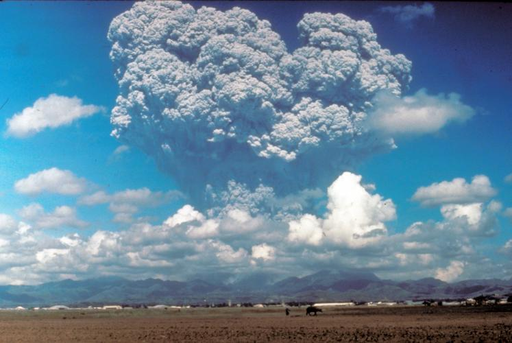 The June 12, 1991 eruption column from Mount Pinatubo taken from the east  side of Clark Air Base.