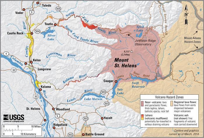 USGS Volcano Hazards Program CVO Mount St Helens - Mt st helens on us map