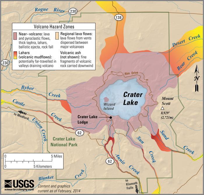 USGS Volcano Hazards Program CVO Crater Lake - Oregon lakes map