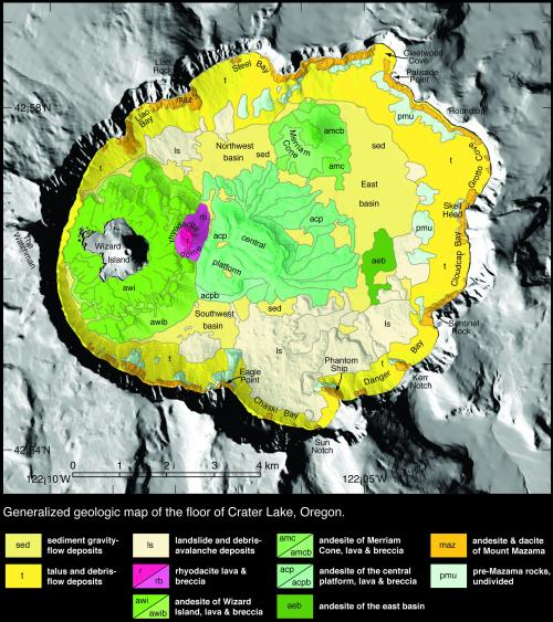 Crater Lake bathymetric map showing the geology of the caldera floor with post-caldera eruptive units. Oregon  (Click image to view full size.)
