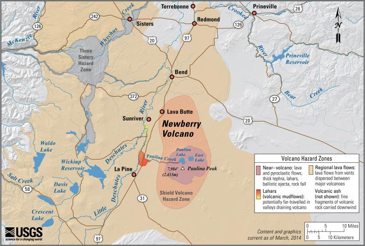 Newberry Volcano Oregon Simplified Hazards Map Showing Potential Impact Area For Ground Based Hazards