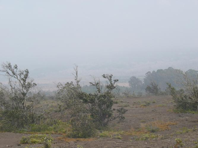 Vog obscures Mauna Loa view during slack or no tradewinds at the summit of KILAUEA Volcano, HAWAII