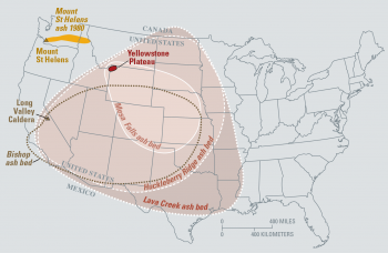 map of the known ash-fall boundaries for major eruptions from long valley  caldera,