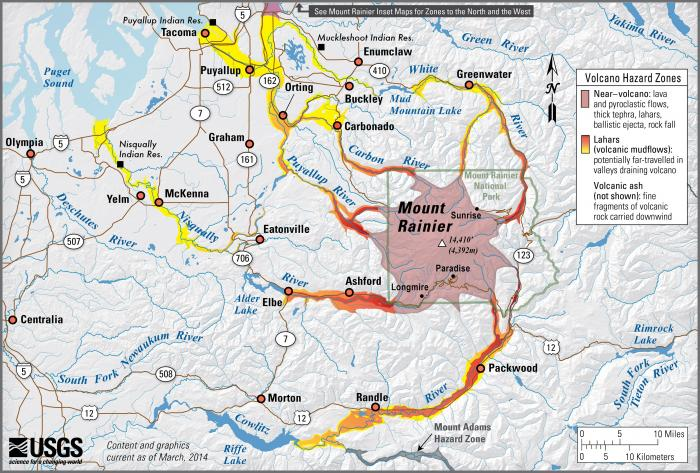 Mount Rainier Washington Simplified Hazards Map Showing Potential Impact Area For Ground Based Hazards