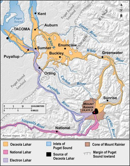 Lahar pathways from events heading on Mount Rainier - map showing three major events from last 10,000 years.