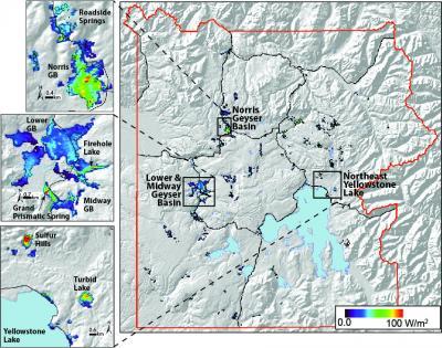 Geographische Karte von Yellowstone mit warmem (thermisch) Bereiche farbcodiert auf, wie viel Erdwärme sie pro Flächeneinheit emittiert.  (Klicken Sie auf Bild, um es in voller Größe zu sehen.)