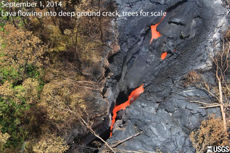 Lava from June 27 breakout flowing into deep ground crack along KILAUEA East Rift Zone, PUUOO, HAWAII