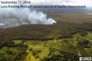 Lava from June 27 PUUOO breakout flowing through vacant, forested parcel in Kahoe Homesteads (left side of image). Smoke from trees burning as they come in contact with lava. KILAUEA, HAWAII