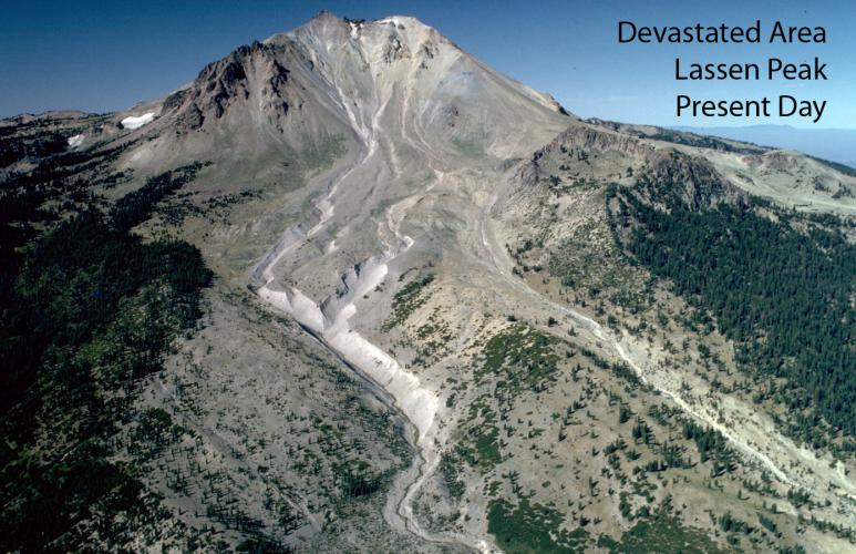 Lassen Peak's Devastated Area photographed from the air in 1994.