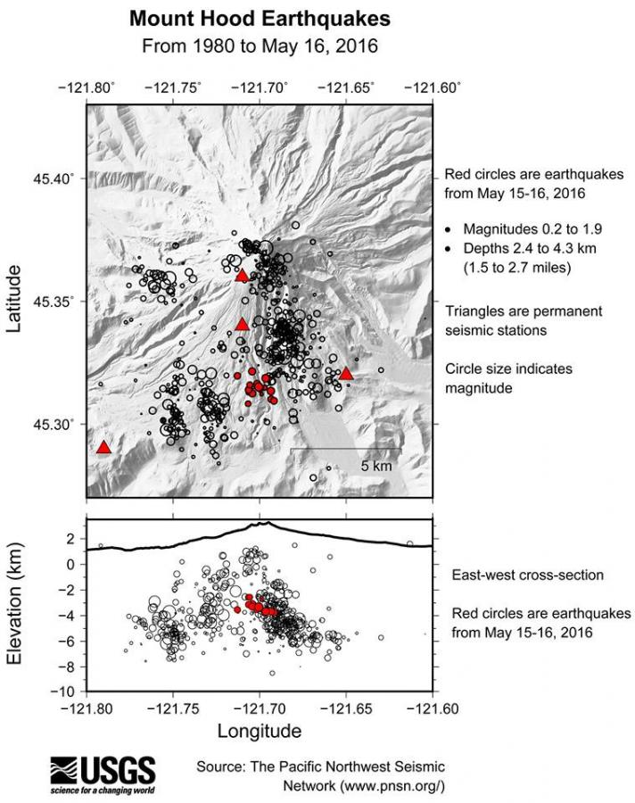Map view of earthquakes (circles) near Mount Hood between 1980 and May 16, 2016 from the Pacific Northwest Seismic Network.