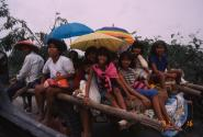 Evacuees seek refuge from June 15, 1991 eruption of Mount Pinatubo, Philippines.