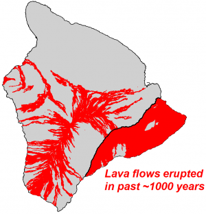 The Island of Hawai'i with lava flows erupted in approximately the past 1,000 years shown in red. Located on the southeastern side, Kīlauea Volcano is 90% covered with young flows.  (Click image to view full size.)