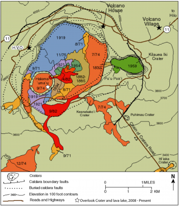 Kīlauea Caldera simplified geologic map, month/year labels on lava flows. Entire caldera floor covered either by lava flows erupted since 1885 or by the early 19th century Keanakāko'i Ash (not on map).  (Click image to view full size.)
