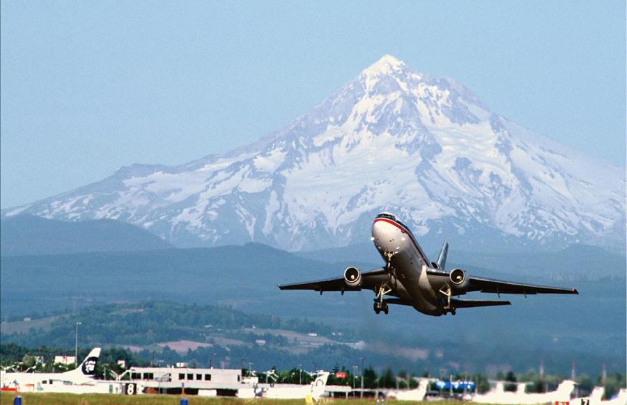Portland Airport wiht Mt. Hood in Background
