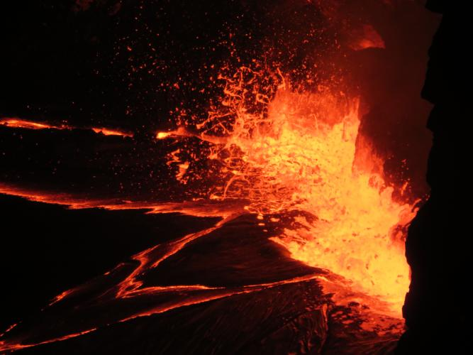 Typical lava lake activity at KILAUEA's summit, slowly rising lake level