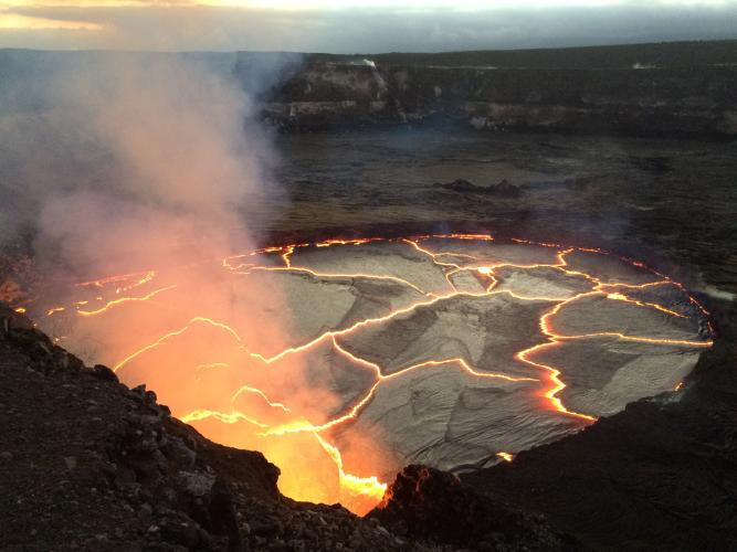 A closer look at KILAUEA's summit lava lake on Wednesday evening, around 6:30 p.m., when the lake was just 8 meters (26 feet) below the floor of HALEMAUMAU Crater.