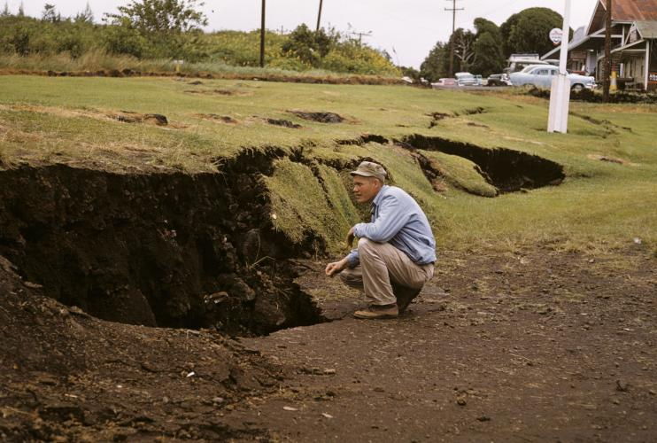 Displacement of Kapoho fault scarp, KILAUEA Volcano, HAWAII, caused by magma moving underground nearby only hours before an eruption on January 13, 1960