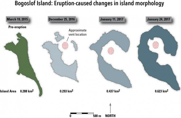 Morphologic changes in the size and shape of Bogoslof Island resulting from the eruptive activity of 2016-17 as of January 24, 2017. Island outlines derived from satellite images.