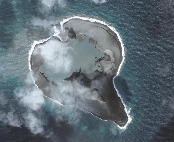 Worldview-2 satellite image of Bogoslof volcano collected on March 11, 2017 at 22:15 UTC (1:15 PM AKST). Image data provided under Digital Globe NextView License.