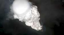 Worldview satellite image collected at 14:34 AKDT (22:34 UTC) on May 28, 2017 showing the initial development of the eruption cloud from Bogoslof volcano.