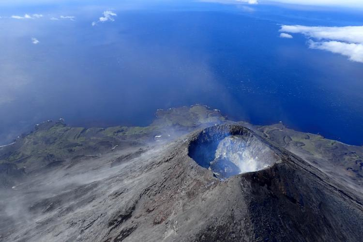 Summit of Cleveland Volcano in Alaska's central Aleutian Islands. A lava dome is visible in the crater.
