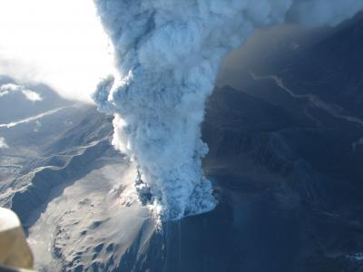 May 2, 2008, Chaitén volcano in Chile erupted with an ash column that rose to about 17 km (10 mi) and lasted for 6 hours. Activity continued into 2009, including this ash emission on May 27, 2008.  (Click image to view full size.)