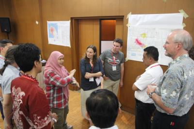 Hazard-map workshop participants discuss how to identify regions of concern for a variety of volcanic hazards, helping communities better understand, communicate and prevent volcanic disasters. (Click image to view full size.)