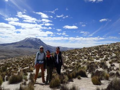 Dr. Heather Wright at Ubinas, Peru with colleagues from INGEMMET. Studying active volcanoes in Peru not only helps INGEMMET, it provides information that will help with active volcanoes in the U.S.  (Click image to view full size.)