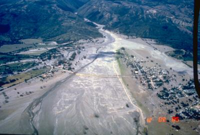 Aerial view of Armero destroyed by lahars from Nevado del Ruiz volcano, Colombia, on November 13, 1985. (Click image to view full size.)