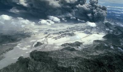 Aerial view of pyroclastic flow deposits from the Mount Pinatubo eruption in 1991. (Click image to view full size.)