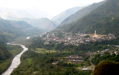 Village of Belalcázar along the Páez River in Colombia. Photograph taken in 2006 - note river bank vegetation and soccer pitch is restored in 12 years after 1994 lahar. (Click image to view full size.)