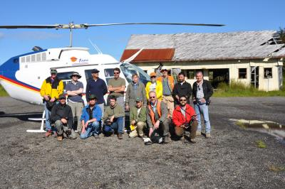 U.S. and Chilean scientists prepare for a research flight during the 2008 VDAP eruption response at Chaitén. (Click image to view full size.)