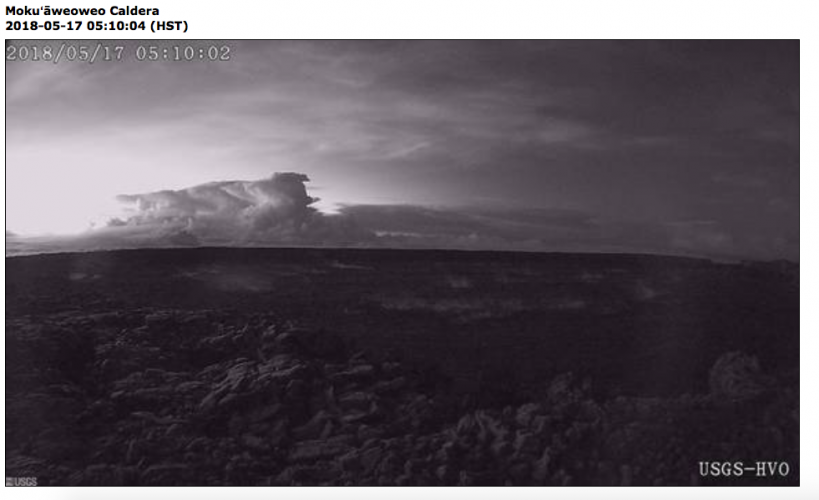 View of the ash plume from Halemauamu from the Mauna Loa web cam at 5:10 a.m. HST. At about 04:15 a.m. HST,  an explosion from the Overlook vent within Halemaumau crater at Kilauea Volcano's summit produced a volcanic cloud that reached as high as 30,000 ft. and drifted northeast. This activity has produced a substantial ash fall at the Hawaiian Volcano Observatory and a minor ash fall in the Vol