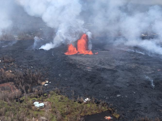 Fissure 8 reactivated on the afternoon of May 28 and at times, was fountaining to heights of 200 feet and feeding a lava flow traveling to the northeast.