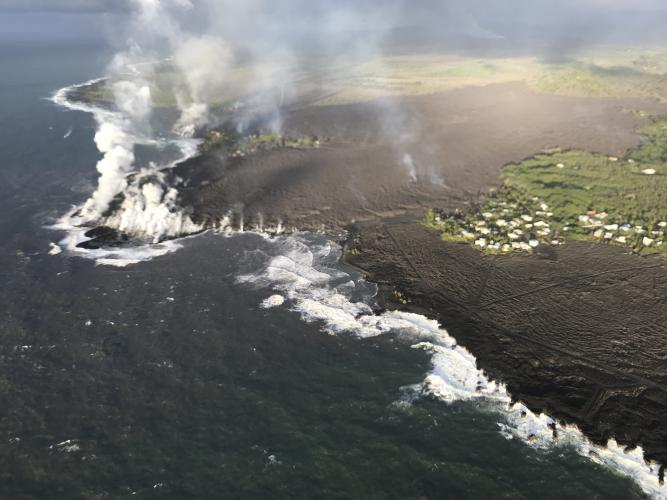 As of the morning of June 5, the fissure 8 lava flow front had completely filled Kapoho Bay.