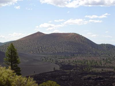Sunset Crater is the youngest cinder cone of the San Francisco Volcanic Field, which hosts 600 cinder cones and associated lava flows.  (Click image to view full size.)