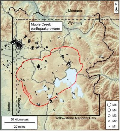 Map of earthquakes in the Yellowstone area in 2017 (Click image to view full size.)