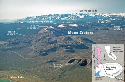 An aerial view looking south of the Long Valley volcanic region in the area of Mono Lake, showing a line of rhyolite lava domes and explosion craters. An inset map shows the locations of silcic magmatic centers in the Long Valley area.  (Click image to view full size.)