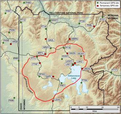 Map of permanent and temporary GPS stations in the Yellowstone region (Click image to view full size.)