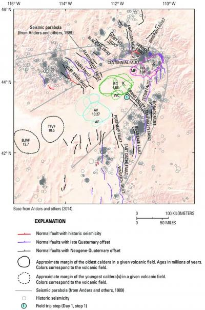 Map of eastern Idaho, northern Utah, and western Wyoming showing faults, earthquakes, and seismic parabola around the Yellowstone hotspot track (Click image to view full size.)