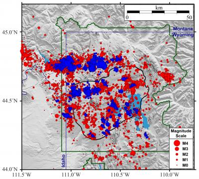Yellowstone earthquakes that occurred during 2010-2019.  Blue symbols indicate events that occurred as part of swarms, while red indicates non-swarm seismicity. (Click image to view full size.)
