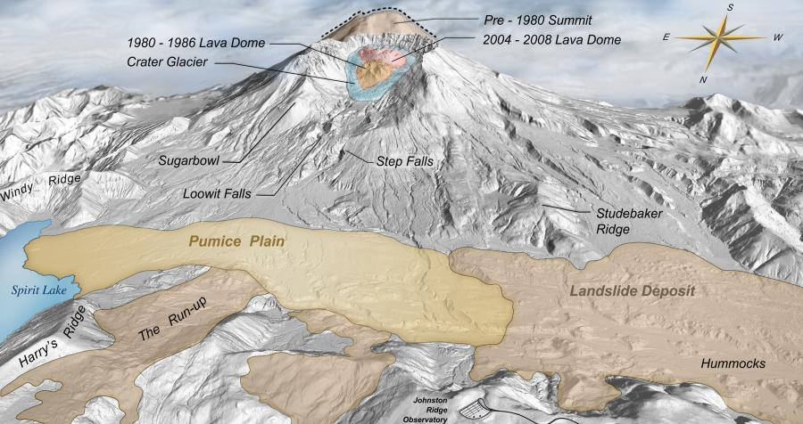 Digital Elevation Map of Mount St. Helens with annotation of pre-1980 topography and deposits from 1980 - 2008.